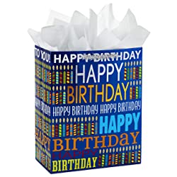 """Hallmark 13"""" Large Birthday Gift Bag with Tissue Paper (Blue Happy Birthday, Multicolored Candles)"""