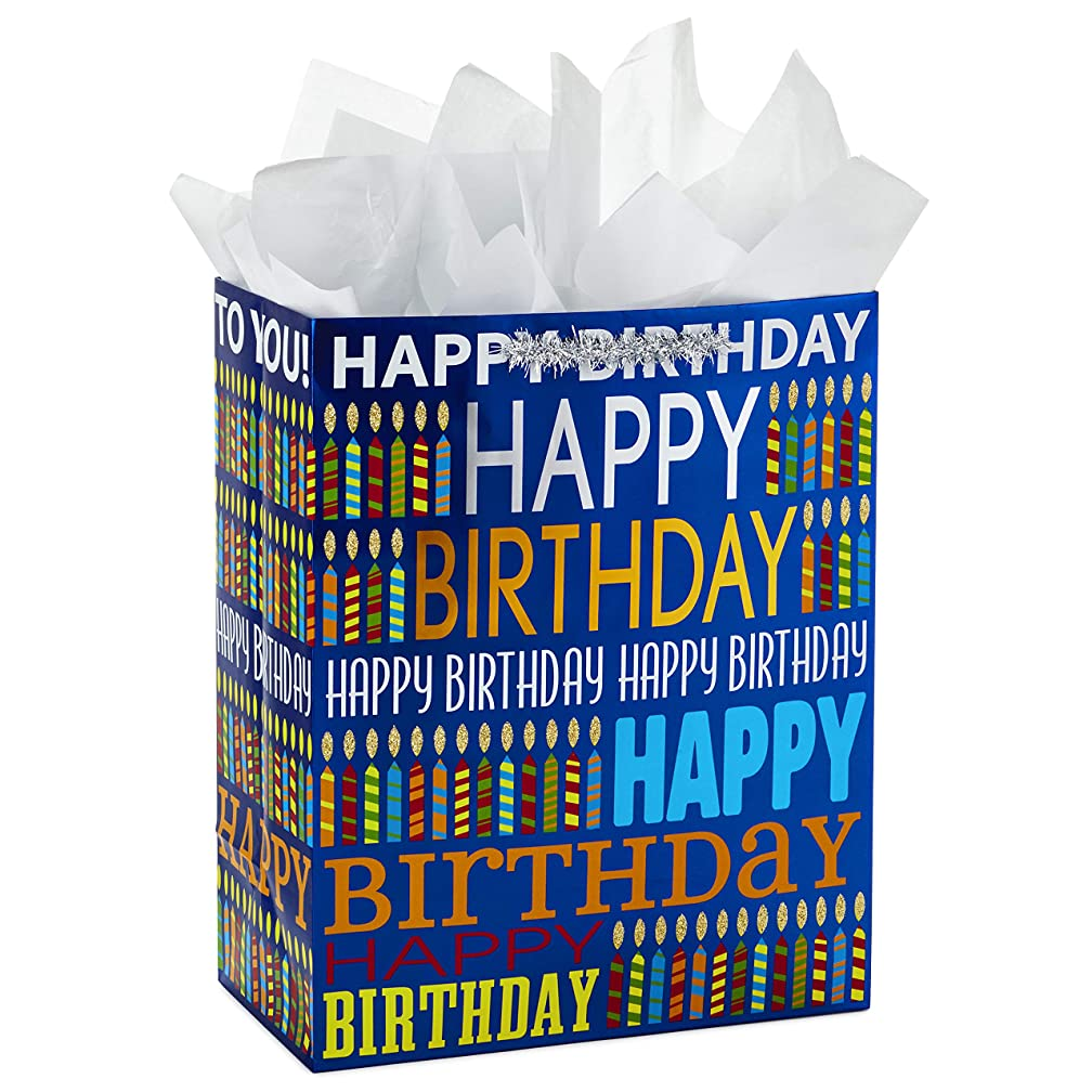 Hallmark Large Gift Bag with Tissue Paper for Birthdays (Blue Happy Birthday)