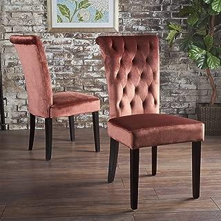 Christopher Knight Home Venetian Tufted New Velvet Dining Chair, Blush/Dark Brown