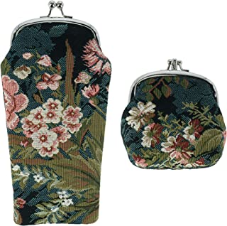 CTM Women's Floral Print Tapestry Glasses Case and Coin Purse Set