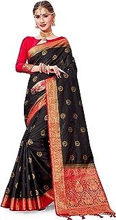 ELINA FASHION Sarees for Women Banarasi Art Silk Woven Work Saree l Indian Wedding Traditional Wear Sari and Blouse Piece
