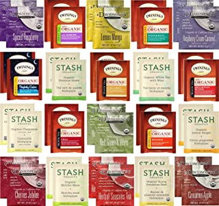 Organic Tea Bags Sampler - Assorted Variety Gift Set - Stash, Twinings, Davidsons - 40 Count, 20 Flavors