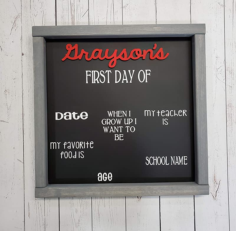 First Day Of School Chalkboard Farmhouse Sign Photo Board Prop OR Last Day Of School Reusable White Board Chalkboard Dry Erase