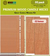 by Wooden Wick Co Wooden Candle Wick for Vegetable Blended Wax Candles with Jar Diameter 3.5 to 4 in Crackling Wood Wick Candle Making Supplies with Metal StandOriginal Booster Wick