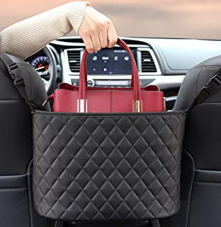 BXKM Car Net Pocket Handbag Holder Between Seats Genuine Leather Car Organizer for Seat Back, Handbag Holder for Car, Car Mesh Organizer, Barrier of Backseat Pet Kids