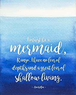 I Must Be a Mermaid Literary Quote. Watercolor Anaïs Nin Fine Art Print For Classroom, Library, Home, Bath or Dorm. Literary, House Warming, Bookish Gift