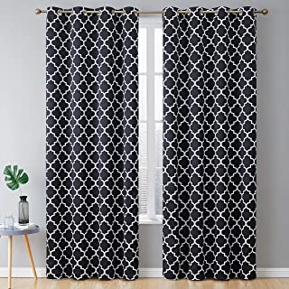HLC.ME Lattice Print Thermal Insulated Blackout Room Darkening Energy Efficient Window Curtain Grommet Panels for Bedroom - Set of 2-52