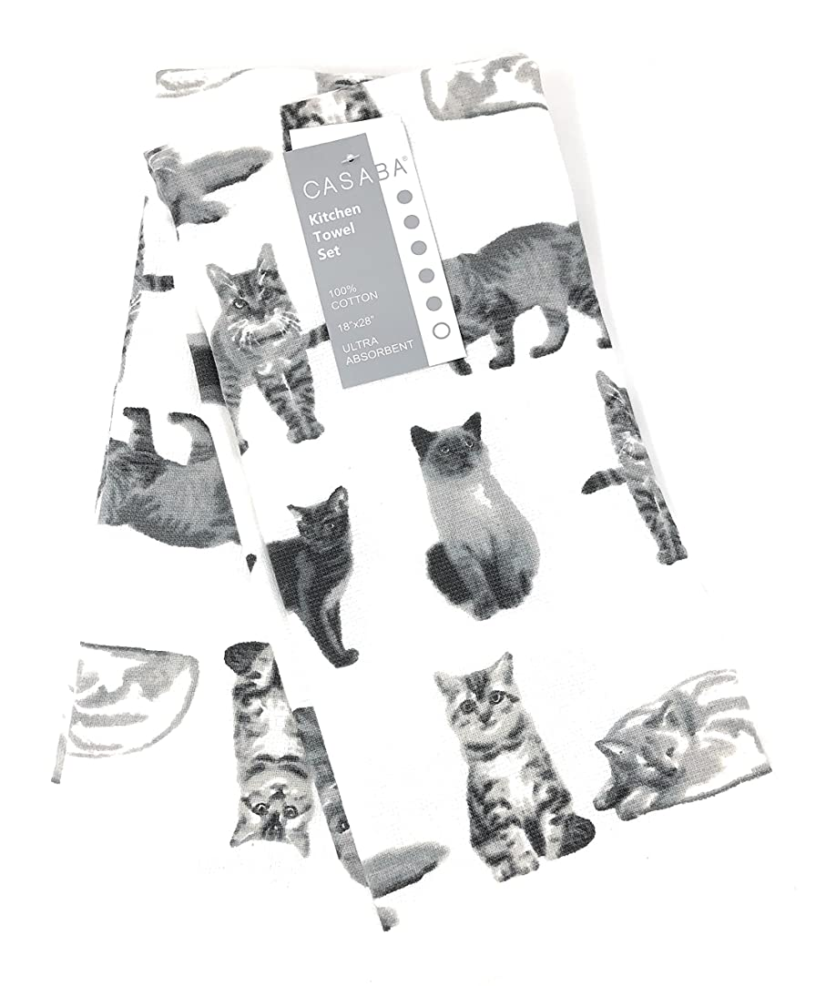 マーカー魔女きらきらセットの2装飾超吸収性のキッチンタオルAssorted Cats 100?%コットン18?