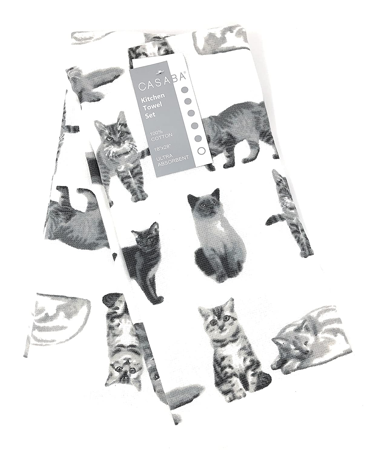できないなので銀行セットの2装飾超吸収性のキッチンタオルAssorted Cats 100?%コットン18?