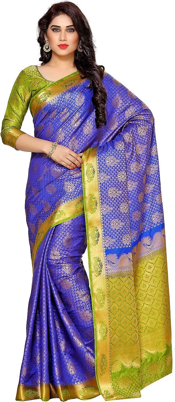 MIMOSA Women's Silk Saree with Blouse Piece (41212652DRblueOlv_Royal bluee)