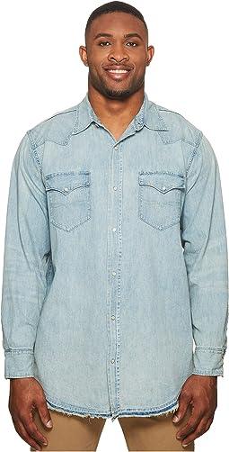 Big & Tall Oxford Denim Western Sport Shirt