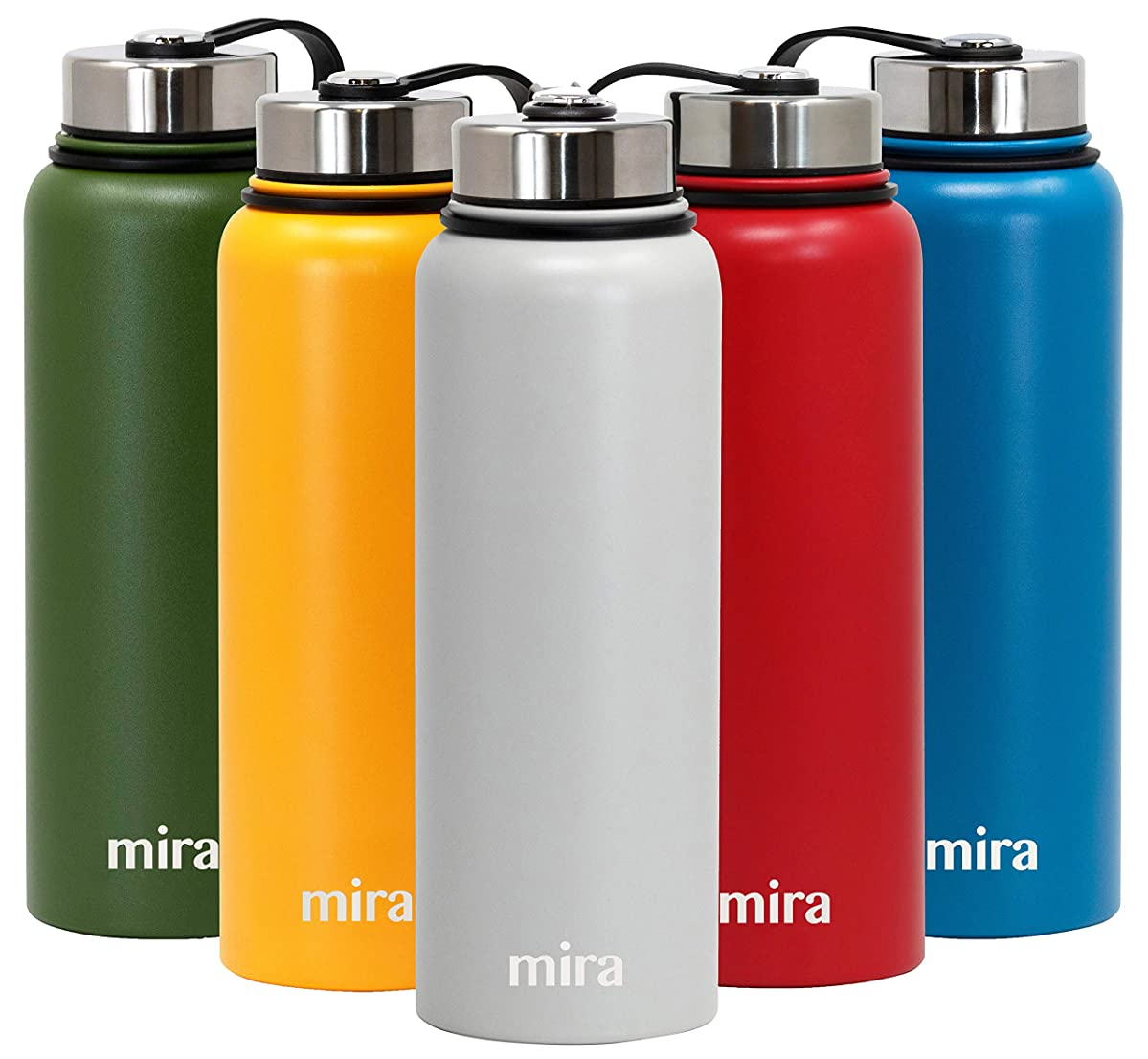 MIRA 40 Oz Stainless Steel Vacuum Insulated Wide Mouth Water Bottle | Thermos Keeps Cold for 24 hours, Hot for 12 hours | Double Walled Powder Coated Travel Flask | Silver Gray