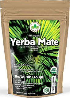 Yerba Mate Tea 1LB (16Oz) HI-CAFFEINE 100% CERTIFIED Organic SUPER-GREEN Yerba Mate | NO..