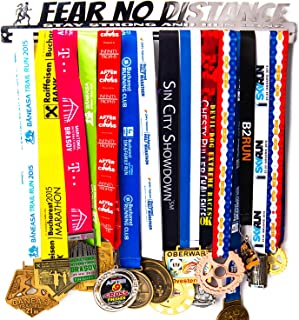 Medal Display + Fear No Distance + Medal Display Rack for 30+ Medals + for Marathon, Running, Race, Sports Medals