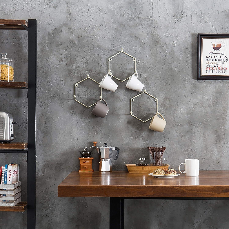 Set of 3 MyGift Wall-Mounted Vintage White Metal Hexagon Mug Racks