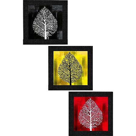 SAF Set of 3 Flower Floral Design UV Coated Home Decorative Gift Item Framed Painting 9.5 inch X 28.5 inch SANFO297