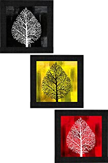 SAF Set of 3 Flower Floral Design UV Coated Home Decorative Gift Item Framed Painting 9.5 inch X 28.5 inch SANFO297