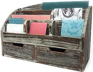 $34 » Farmhouse Decor Decorative Desk Organizer 3 Tier Mail Sorter Envelopes Folders Office Supplies Drawers Shelves Organizers Rustic Wood Distressed Finish