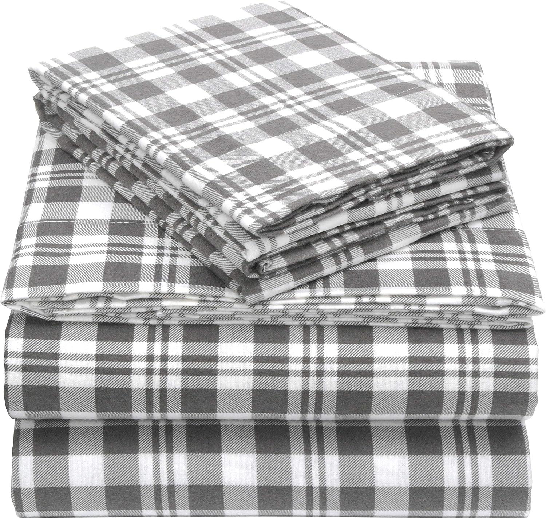 EnvioHome 160 Gram Flannel 4 Pc Sheet Set - Grey Plaid, King