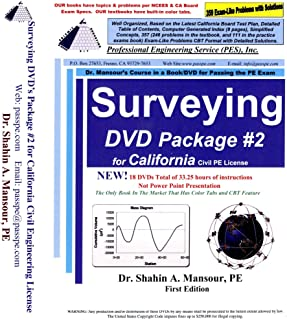 Surveying DVD Package #2 for California Civil PE License (18 DVDs, two books, and 358 CBT practice problems used for CBT)