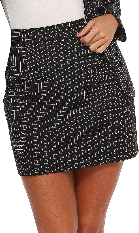 HUILAN Women's Plaid High Waist Bodycon Mini Skirt