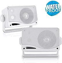 3-Way Weatherproof Outdoor Speaker Set – 3.5 Inch 200W Pair of Marine Grade Mount..