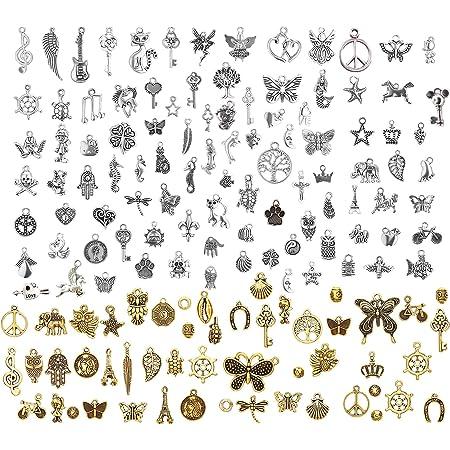 LABOTA 150 pcs Antique Mélangé Charms Pendentifs pour la décoration de mariage faveur, collier pendentifs, fabrication de bijoux et l'artisanat DIY