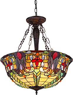 """Chloe Lighting CH36466RV22-UH3 Riley Tiffany-Style 3 Light Victorian Inverted Ceiling Pendant Fixture with Shade, 24.6 x 22 x 22"""", Multicolor"""