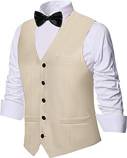 Coucoland Men Suit Vest Slim Fit Formal Business Suit Waistcoat Classic V-Neck Vest for Wedding Bridal Party