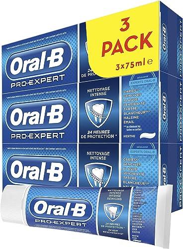 Oral-B Pro-Expert Dentifrice Nettoyage Intense, 24 H de Protection, Protège Contre la Plaque Dentaire, Lot de 3x75 ml...