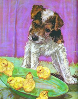 Brown & White Terrier Puppy Kids Wall Decor - Poster Print - Dog Art - Vintage Reproduction - 11 x 14