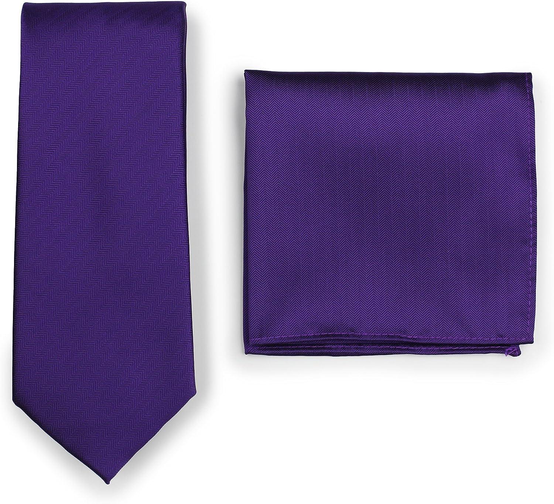 Bows-N-Ties Men's Solid Necktie and Pocket Square Set Matte Herringbone Finish