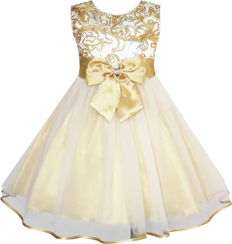 Sunny Fashion Girls Dress Champagne Multi-Layers Wedding Pageant