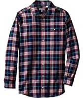Lacoste Kids - Long Sleeve Flannel Plaid Woven Shirt (Little Kids/Big Kids)