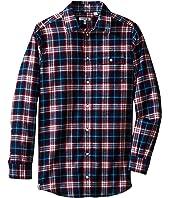 Lacoste Kids - Long Sleeve Flannel Plaid Woven Shirt (Little Kids/Big Kids)