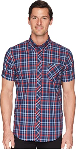 Short Sleeve Placed Texture Check Shirt