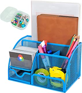 XYTLAX Desk Organizer Mesh Desktop Office Supplies Multi-Functional Caddy Pen Holder Stationery with 6 Compartments and 1 ...