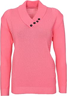 958af8892652f2 Lets Shop Shop New Womens Ladies Button Collar Long Sleeve Top Knitted  Jumper Pullover Sweater Plus