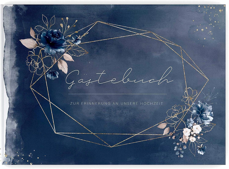 PaperMaid Gästebuch Hochzeit Aquarell Dark Blau Rosan Hardcover Hardcover Hardcover DINA4 Quer Dunkelblau (mit Vorgedruckten Fragen) B07K7MZCHF de5f47