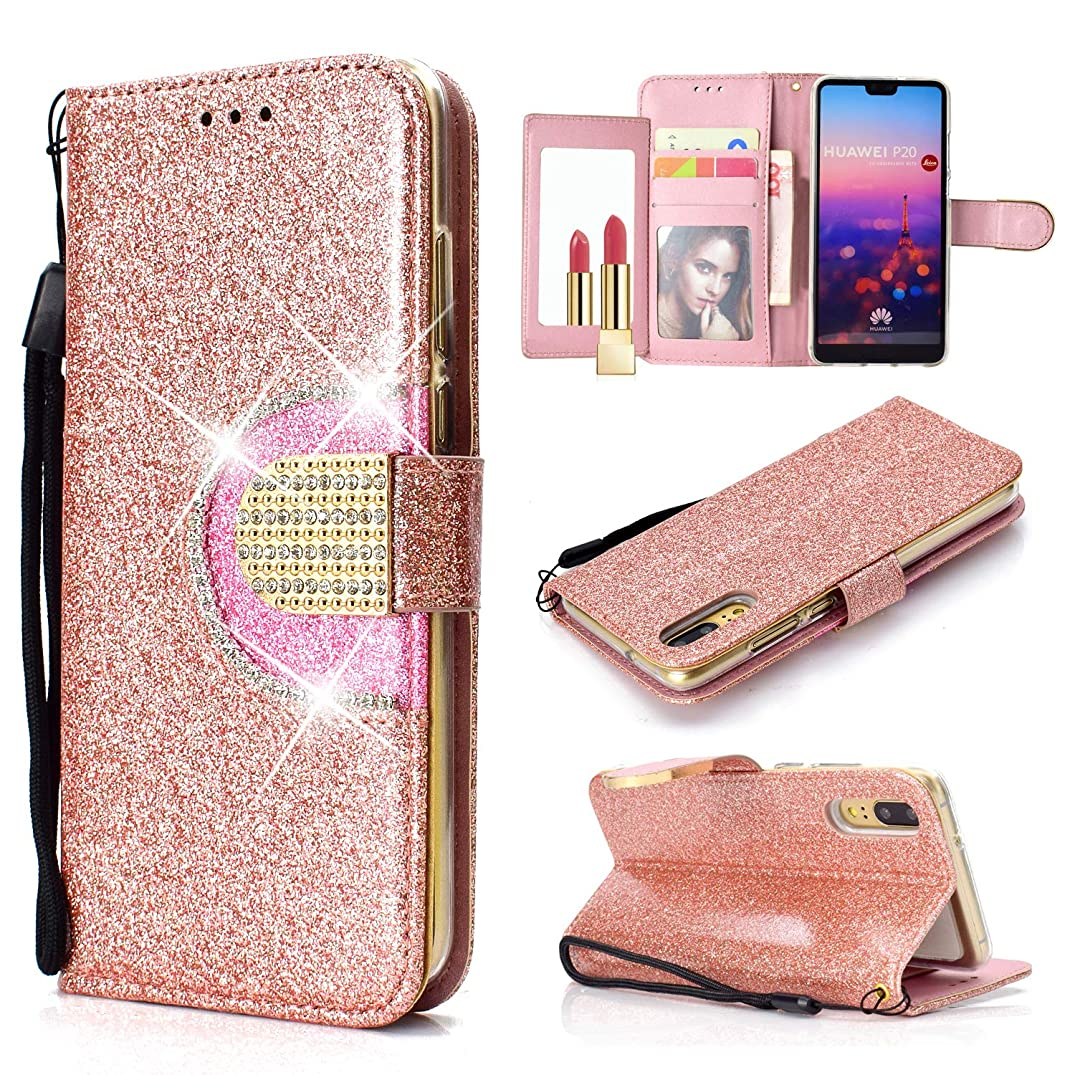 UEEBAI Wallet Flip Case for Huawei P20 Pro, Glitter Glossy PU Leather Cover Mirror [Diamond Buckle] [Card Slots] [Magnetic Clasp] Stand Function Rhinestone Strap Handbag Soft TPU Case - Rose Gold#2