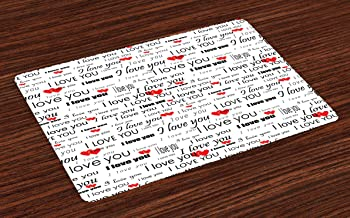 Ambesonne Romantic Place Mats Set of 4, I Love You Words with Hearts Romance Couple Valentine Plain Backdrop, Washable Fabric Placemats for Dining Table, Standard Size, Vermilion White