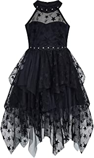 Sunny Fashion Girls Dress Black Halter Lace Star Tutu Dancing Party Size 6-12 Years