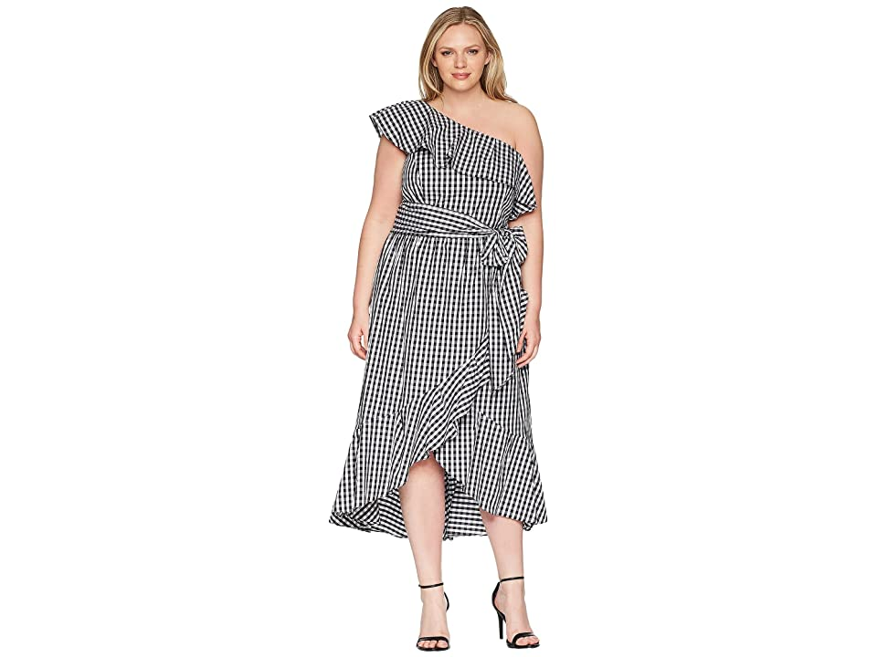 Adrianna Papell Plus Size Gingham One Shoulder High-Low (Ivory/Black) Women