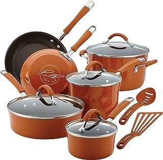Rachael Ray Cucina Nonstick Cookware Pots and Pans Set, 12 Piece, Pumpkin Orange