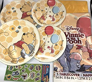 Winnie the Pooh Birthday Baby Shower Party Supplies Set for 16 includes Dessert Plates Lunch Plates Table Cover Napkins