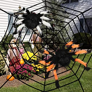 balnore 3 in 1 Halloween Spider Web Decoration outdoor, Halloween Outdoor Large Size Realistic Fake Hairy Spider Decor for...