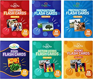 Vocabulary Builder Flash Cards 6 Pack - Volume 2 - 300 Educational Photo Cards with Learning Games - Food, Emotions, Nouns & Verbs Vol 2 and Prepositions Vol 2-3 for Speech Therapy Materials