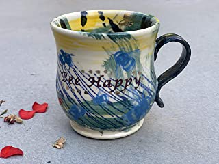 Green Yellow and Blue Bee Happy Mug, Handmade Pottery Tea or Coffee Clay Cup
