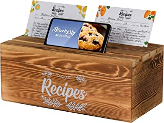 Pinelive 700+ Large Recipe Box with Cards and Dividers PLUS Phone/iPad Holder. 152 Index Recipe Cards 4x6, 16 Dividers and...