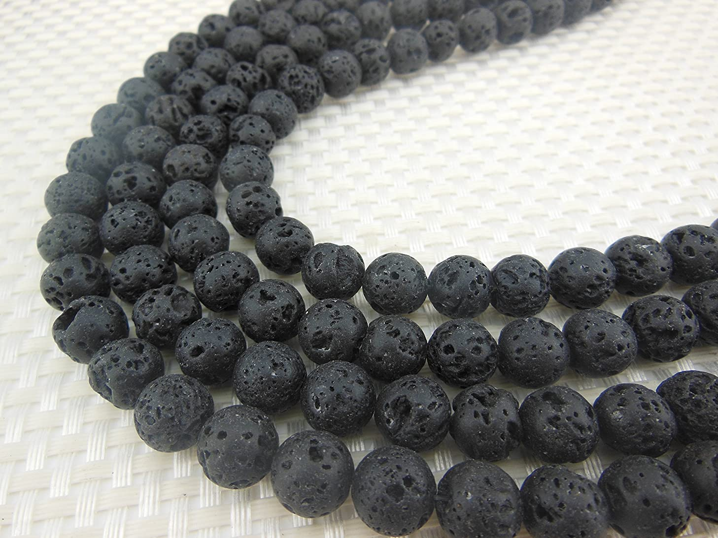 8MM Black Lava Stone Rock Gemstone Gem Round Loose Stone Beads for Jewelry Making&DIY&Design (8MM, RS-1028)